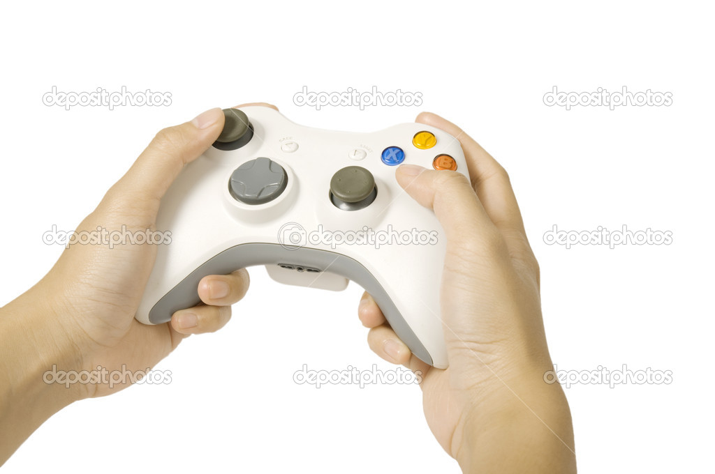 Gamepad hold by human hand isolated over white background — Stock Photo #10678644