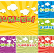 Stock Vector: Set of colorful summer background