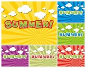 Set of colorful summer background — Stock Vector