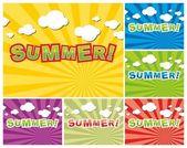 Uppsättning färgglada sommar bakgrund — Stockvektor
