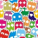 Pixel monster seamless pattern — Stock Vector