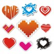 Vector heart stickers collection — Stok Vektör