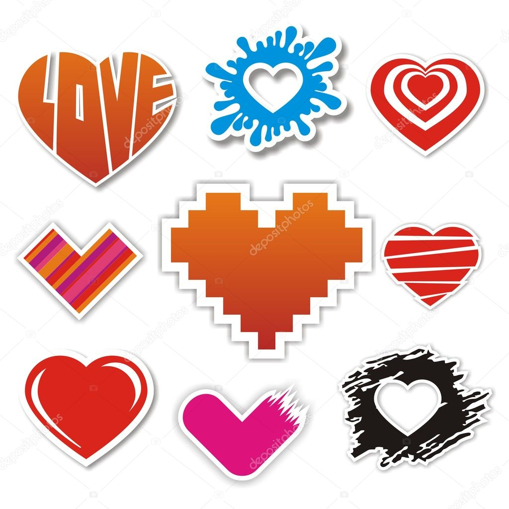 Vector heart stickers collection for Valentines Day  Stock Vector #8903265