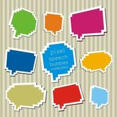 A collection of pixel speech bubbles — Stock Vector