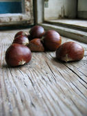 Pile of chestnuts on an old retro window sill — Stock Photo