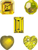 Five Yellow Crystal Vector Illustrations — Stock Vector