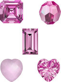 Faceted Crystal Pink Gems — Vettoriale Stock