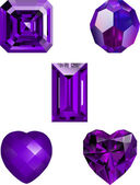 A Collection of Amethyst Crystal vectors — Stock Vector