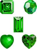 Colección de vectores de cristal esmeralda — Vector de stock