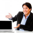 Business man with a laptop — Foto de Stock