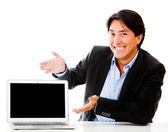 Business man with a laptop — Stock Photo