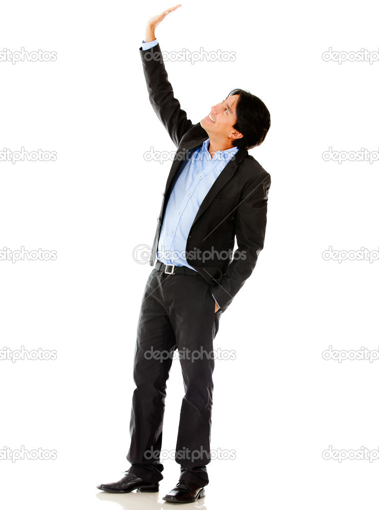 Businessman lifting one arm - isolated over a white background — Stock Photo #10027615
