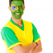 Man with Brazil flag — Stockfoto