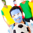 Group of footballs fan — Stock Photo