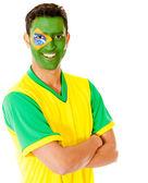 Man with Brazil flag — Stock Photo