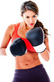 Fit woman boxing — 图库照片