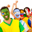 Latinamerican team with arms up — Stock Photo