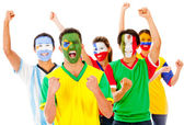 Latinamerican group celebrating — Stock Photo