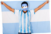 Argentinean man holding flag — Stock Photo