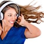 Fun woman listening to music — Stock Photo #10128067