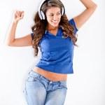 Happy woman with headphones — Stock Photo #10128073