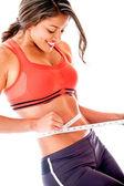 Misura il suo corpo di donna — Foto Stock