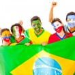 Stock Photo: Latin group with Brazilian flag