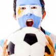 Argentinean celebrating a goal — Stock Photo #10147156