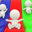 3D characters on slide — Stock Photo