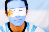 Man with Argentina's flag — Stock Photo
