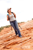 Woman exploring the desert — Stock Photo