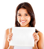 Woman holding a document — Stock Photo