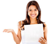 Happy woman holding a paper — Stock Photo