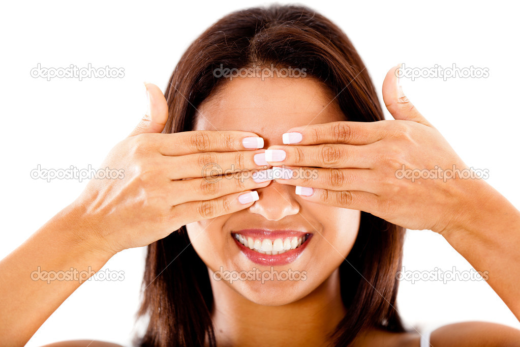 Woman with eyes closed - isolated over a white background — Stock Photo #10164076