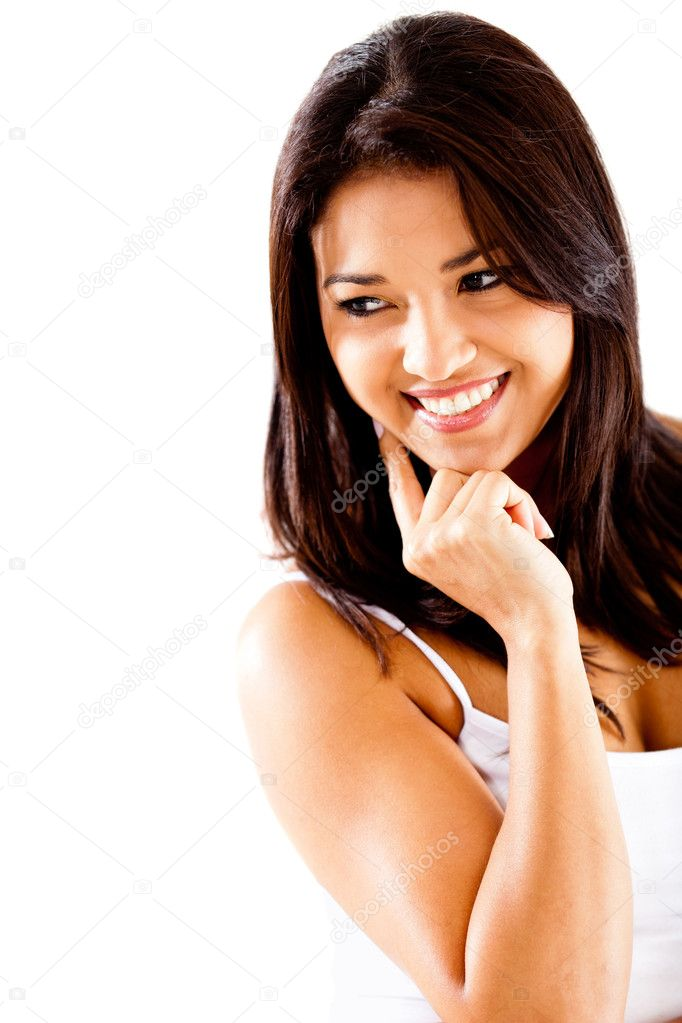 Woman looking down and smiling - isolated over white — Stock Photo #10164079