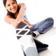 Woman stretching leg — Stock Photo
