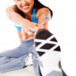 Woman doing stretching exercises — Stock Photo