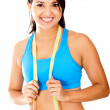 Fit woman with tape measure — Stock Photo