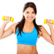 Athetic womwith weights — Stock Photo #10224092