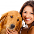 Stock Photo: Woman with a dog