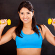 Athletic womwith weights — Stock Photo #10226156
