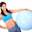Woman with a Swiss ball — Foto de Stock