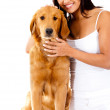 Woman with a cute dog — Stock Photo