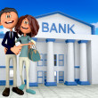 3D couple at the bank — Stock Photo