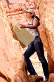 Woman exploring the desert — Stock Photo