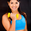 Womlifting weights — Stock Photo #10248303