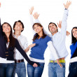 Stock Photo: Successful group with arms up