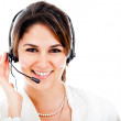 Happy woman with headset - Stock Photo