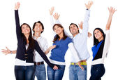 Successful group with arms up — Stock Photo
