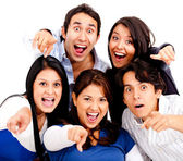 Surprised group pointing — Stock Photo